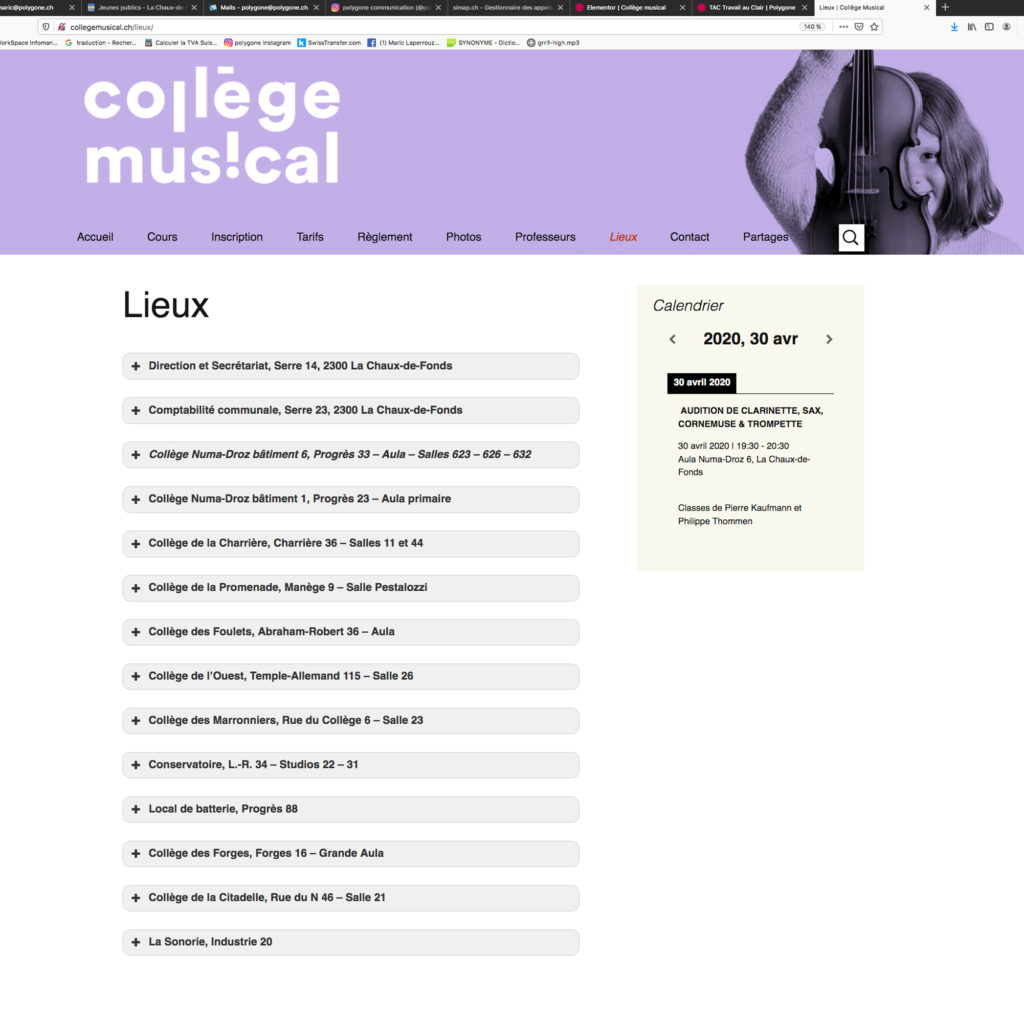 Site internet collège musical