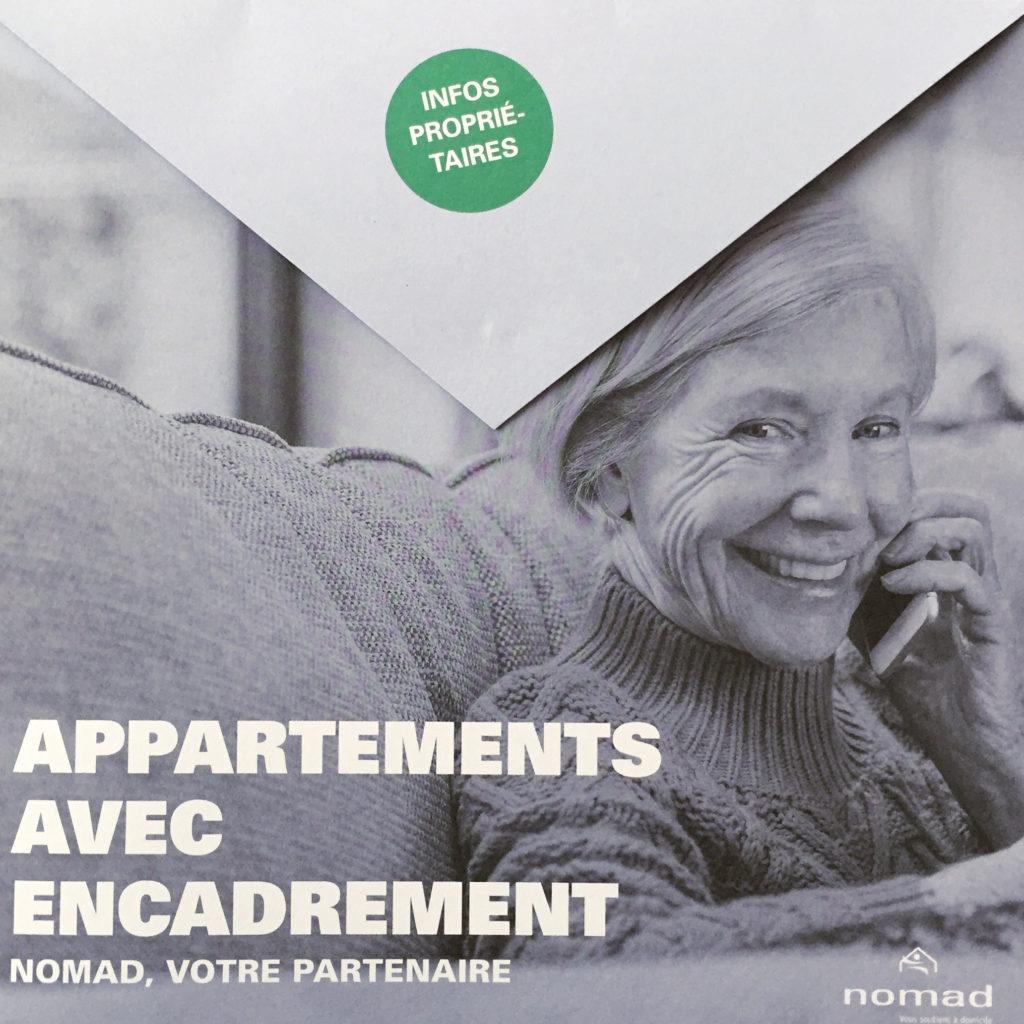Plaquette promotionnelle appartements avec encadrement Nomad